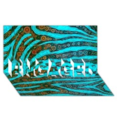 Turquoise Blue Zebra Abstract  ENGAGED 3D Greeting Card (8x4)