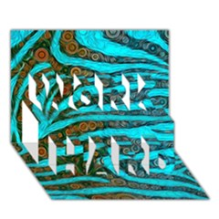 Turquoise Blue Zebra Abstract  Work Hard 3d Greeting Card (7x5)