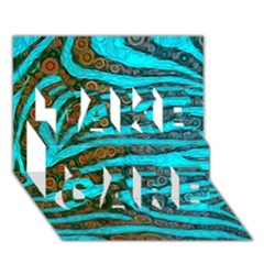 Turquoise Blue Zebra Abstract  TAKE CARE 3D Greeting Card (7x5)