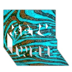 Turquoise Blue Zebra Abstract  Get Well 3d Greeting Card (7x5)