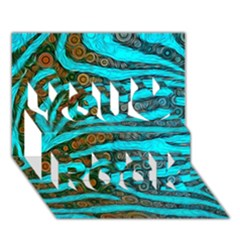 Turquoise Blue Zebra Abstract  You Rock 3D Greeting Card (7x5)