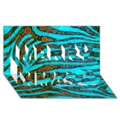 Turquoise Blue Zebra Abstract  Merry Xmas 3D Greeting Card (8x4)