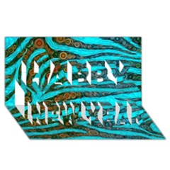 Turquoise Blue Zebra Abstract  Happy New Year 3D Greeting Card (8x4)
