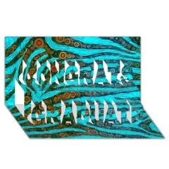 Turquoise Blue Zebra Abstract  Congrats Graduate 3D Greeting Card (8x4)