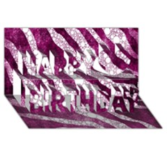 Purple Zebra Print Bling Pattern  Happy Birthday 3D Greeting Card (8x4)