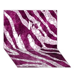 Purple Zebra Print Bling Pattern  Apple 3D Greeting Card (7x5)