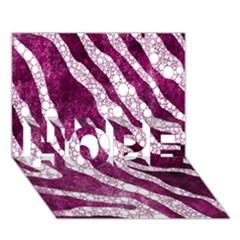 Purple Zebra Print Bling Pattern  HOPE 3D Greeting Card (7x5)