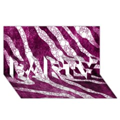 Purple Zebra Print Bling Pattern  Party 3d Greeting Card (8x4)
