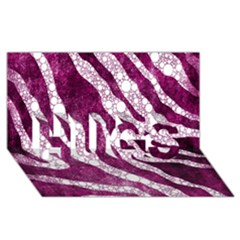 Purple Zebra Print Bling Pattern  Hugs 3d Greeting Card (8x4)