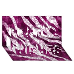 Purple Zebra Print Bling Pattern  Best Wish 3d Greeting Card (8x4)