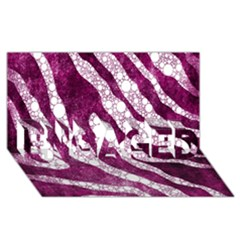 Purple Zebra Print Bling Pattern  ENGAGED 3D Greeting Card (8x4)