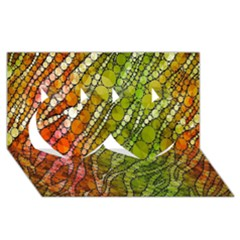 Orange Green Zebra Bling Pattern  Twin Hearts 3D Greeting Card (8x4)