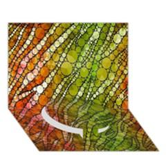 Orange Green Zebra Bling Pattern  Circle Bottom 3d Greeting Card (7x5)