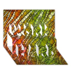 Orange Green Zebra Bling Pattern  WORK HARD 3D Greeting Card (7x5)