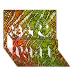Orange Green Zebra Bling Pattern  Get Well 3D Greeting Card (7x5)