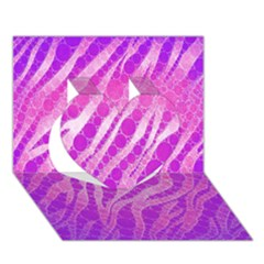 Florescent Pink Zebra Pattern  Heart 3D Greeting Card (7x5)