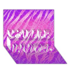 Florescent Pink Zebra Pattern  YOU ARE INVITED 3D Greeting Card (7x5)