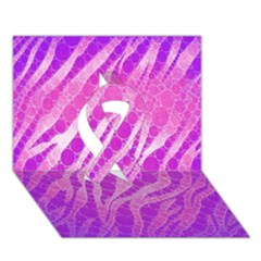 Florescent Pink Zebra Pattern  Ribbon 3D Greeting Card (7x5)