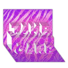 Florescent Pink Zebra Pattern  Take Care 3d Greeting Card (7x5)
