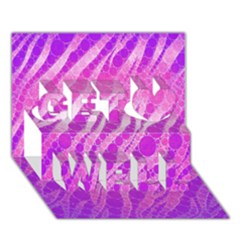 Florescent Pink Zebra Pattern  Get Well 3D Greeting Card (7x5)