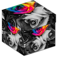 Blach,white Splash Roses Storage Stool 12