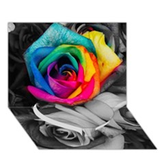 Blach,white Splash Roses Heart Bottom 3D Greeting Card (7x5)