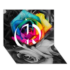 Blach,white Splash Roses Peace Sign 3D Greeting Card (7x5)