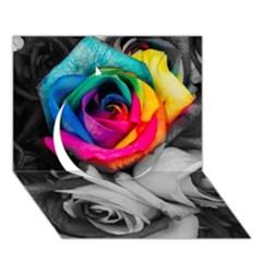 Blach,white Splash Roses Circle 3D Greeting Card (7x5)