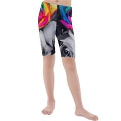 Blach,white Splash Roses Kid s Swimwear