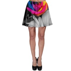 Blach,white Splash Roses Skater Skirts