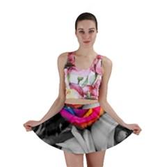 Blach,white Splash Roses Mini Skirts