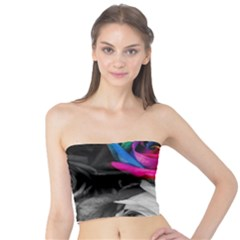 Blach,white Splash Roses Women s Tube Tops