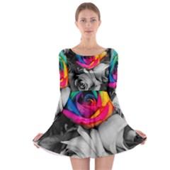 Blach,white Splash Roses Long Sleeve Skater Dress