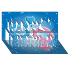 Sperm and Gender Symbols  Happy Birthday 3D Greeting Card (8x4)