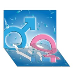 Sperm and Gender Symbols  LOVE Bottom 3D Greeting Card (7x5)