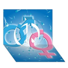 Sperm and Gender Symbols  Peace Sign 3D Greeting Card (7x5)