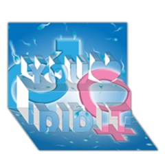 Sperm and Gender Symbols  You Did It 3D Greeting Card (7x5)