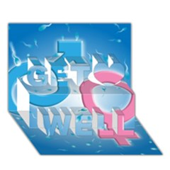 Sperm and Gender Symbols  Get Well 3D Greeting Card (7x5)