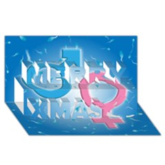 Sperm And Gender Symbols  Merry Xmas 3d Greeting Card (8x4)