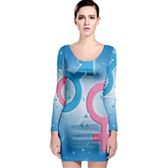 Sperm and Gender Symbols  Long Sleeve Bodycon Dresses