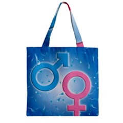 Sperm and Gender Symbols  Zipper Grocery Tote Bags