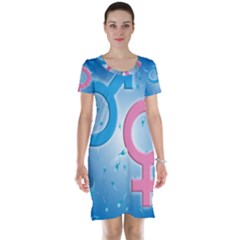 Sperm and Gender Symbols  Short Sleeve Nightdresses