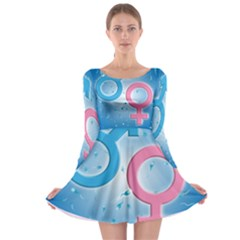 Sperm And Gender Symbols  Long Sleeve Skater Dress
