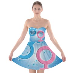 Sperm and Gender Symbols  Strapless Bra Top Dress