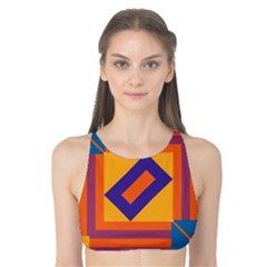 Shapes and stripes symmetric design Tank Bikini Top