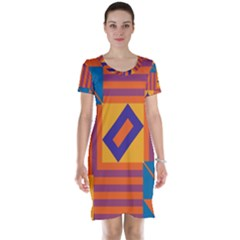 Shapes And Stripes Symmetric Design Short Sleeve Nightdress