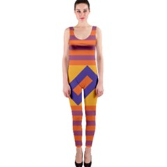 Shapes And Stripes Symmetric Design Onepiece Catsuit