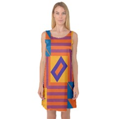 Shapes and stripes symmetric design Sleeveless Satin Nightdress