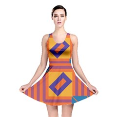 Shapes and stripes symmetric design Reversible Skater Dress