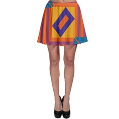 Shapes and stripes symmetric design Skater Skirt